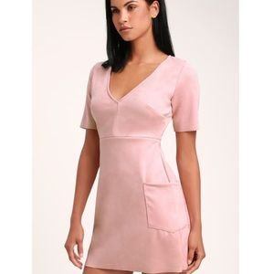 NEW Lulu's Elevate You Pink Suede Mini Party Dress